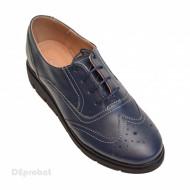 Pantofi dama bleumarin casual-eleganti din piele naturala Oxford Black cod P161BLM