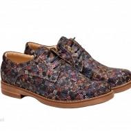 Pantofi dama colorati lucrati manual din piele naturala cod P158 Picasso