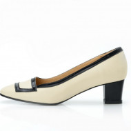 Pantofi dama eleganti din piele naturala bej lacuit cod P304