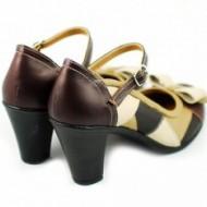 Pantofi dama eleganti din piele naturala cu toc de 7 cm cod P144