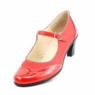 Pantofi dama eleganti din piele naturala rosii cu toc de 5 cm cod P118R