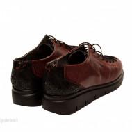 Pantofi dama grena cu siret din piele naturala cod P182