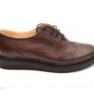 Pantofi dama maro casual-eleganti din piele naturala Oxford Brown cod P60M