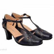 Pantofi dama piele naturala bleumarin cu bareta cod P126BLM - Made in Romania