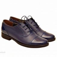 Pantofi dama piele naturala bleumarin cu siret cod P160 - Made in Romania