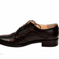 Pantofi dama piele naturala negri cu siret cod P14 - Made in Romania
