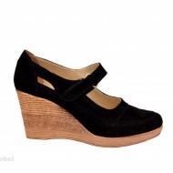 Pantofi dama piele naturala velur negri cu platforma cod P74NVEL - Made in Romania