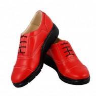 Pantofi dama rosii casual-eleganti din piele naturala cod P47R