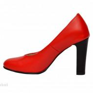 Pantofi dama rosii eleganti din piele naturala cu toc de 9 cm cod P310