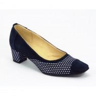 Pantofi eleganti dama bleumarin din piele naturala velur cod P321