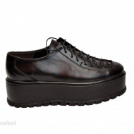 Pantofi negri dama cu talpa inalta 5,5 cm din piele naturala cod P188