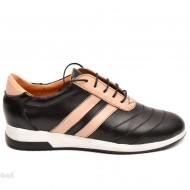 Pantofi sport dama piele naturala negru cu bej cod P81 - Made in Romania