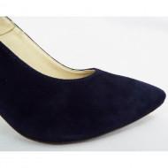 Pantofi stiletto dama eleganti din piele naturala bleumarin velur cod P312