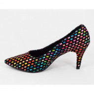 Pantofi stiletto multicolori dama eleganti din piele naturala cod P314