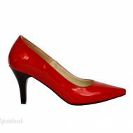 Pantofi stiletto rosii lacuiti dama eleganti din piele naturala cod P332R