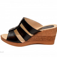 Papuci dama negri din piele naturala cu platforma cod PP15N - LICHIDARE STOC 36, 37