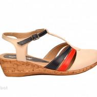 Sandale dama bej cu platforma din piele naturala cod S57