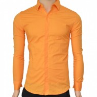 Camasa Slim Fit orange casual-eleganta cu nasturi ascunsi - Camasa orange barbati ZR75