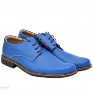 Pantofi albastru electric barbati piele naturala casual-office - cod P77