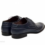 Pantofi barbatesti bleumarin lucrati manual piele naturala cod P154BL - Editie de LUX