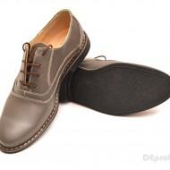 Pantofi barbati piele naturala Gri casual-eleganti cu siret cod P52