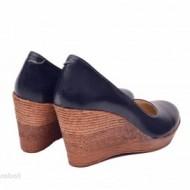 Pantofi bleumarin dama eleganti - casual din piele naturala cod P140