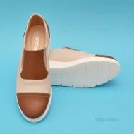 Pantofi dama bej casual-eleganti din piele naturala cu elastic cod P59