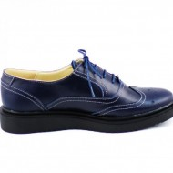 Pantofi dama bleumarin casual-eleganti din piele naturala Oxford cod P60BLM