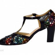 Pantofi dama bleumarin cu toc aplicat din piele naturala cod P344