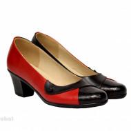Pantofi dama cu toc aplicat din piele naturala cod P353