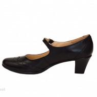 Pantofi dama eleganti din piele naturala negri cu toc de 5 cm cod P143N