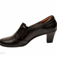 Pantofi dama eleganti negri din piele naturala cu toc 6 cm cod P137