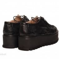 Pantofi dama negri cu talpa inalta 5,5 cm din piele naturala cod P176