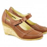 Pantofi dama piele naturala maro cu platforma cod P74M - Made in Romania