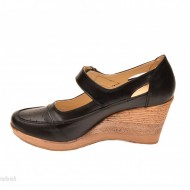 Pantofi dama piele naturala negri cu platforma cod P74N - LICHIDARE STOC 39
