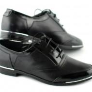 Pantofi dama piele naturala negri cu siret cod P50N - Made in Romania