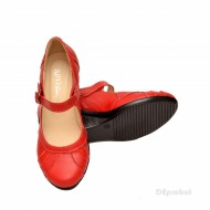 Pantofi dama rosii din piele naturala cu platforma cod P156R - Made in Romania