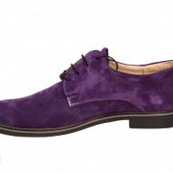 Pantofi mov barbati piele naturala velur - cod P197