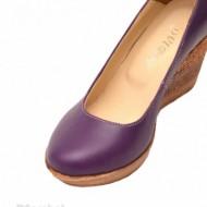 Pantofi mov dama eleganti - casual din piele naturala cod P146