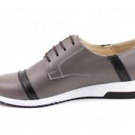 Pantofi sport dama piele naturala gri cu negru cod P83 - Made in Romania