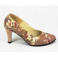 Pantofi stiletto dama eleganti din piele naturala bej cu imprimeu floral cod P326