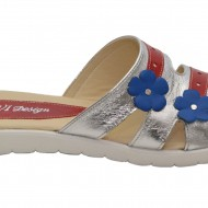 Papuci dama piele naturala cu floricele cod PP13