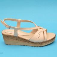 Sandale bej dama din piele naturala cu platforma cod S45