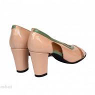 Sandale bej dama din piele naturala toc 7,5 cm cod S309