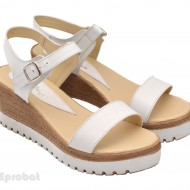 Sandale dama albe cu platforma din piele naturala cod S24ALB