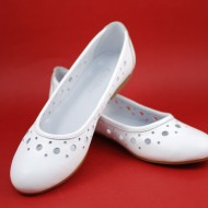 Balerini de vara dama albi din piele naturala cod B27