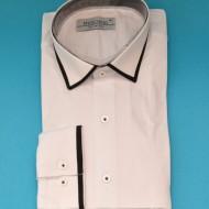 Camasa Slim Fit alba cu terminatii negre - Camasa alba barbati ZR68