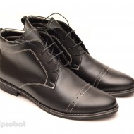 Ghete barbati piele naturala Negre casual-elegante cu siret cod G12
