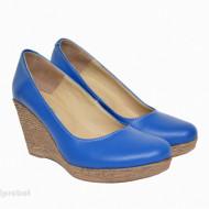 Pantofi albastru electric dama eleganti - casual din piele naturala cod P199