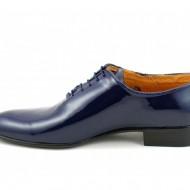 Pantofi barbatesti bleumarin lacuiti piele naturala casual-eleganti cod P65BLL - Editie de LUX